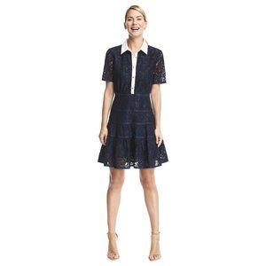 Draper James Meadow Navy Lace Shirt Dress 10 Navy